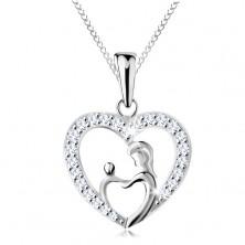 Naszyjnik ze srebra 925, łańcuszek i zawieszka - matka z dzieckiem w zarysie serca