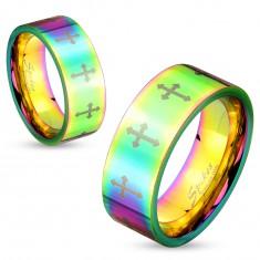 Barwny stalowy pierścionek o lśniącej powierzchni z krzyżykami srebrnego koloru, 6 mm