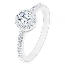 Zaręczynowy pierścionek - srebro 925, błyszcząca okrągła cyrkonia bezbarwnego koloru z błyszczącym kole