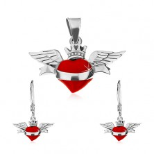 Zestaw - kolczyki i zawieszka ze srebra 925, czerwone skrzydlate serce, wstążka, korona