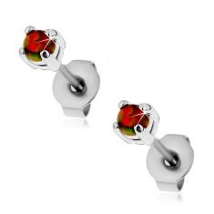 Stalowe kolczyki, pomarańczowy syntetyczny opal, barwne refleksy, wkręty, 3 mm