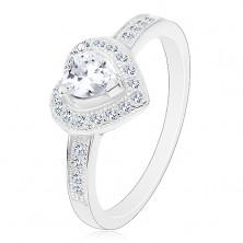 Zaręczynowy pierścionek - srebro 925, bezbarwne serduszko, błyszczący kontur i ramiona