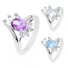 Lśniący pierścionek, oszlifowana owalna cyrkonia, prostokątne i okrągłe cyrkonie bezbarwnego koloru