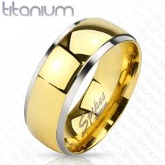Obrączka z tytanu - lśniący pas w złotym odcieniu i wąskie krawędzie srebrnego koloru, 8 mm