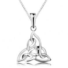 Srebrny naszyjnik 925, celtycki węzeł, łańcuszek z elipsowych ogniw