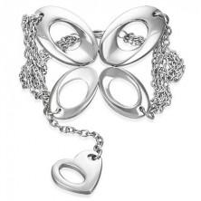 Łańcuszkowa stalowa bransoletka - motyl i serce