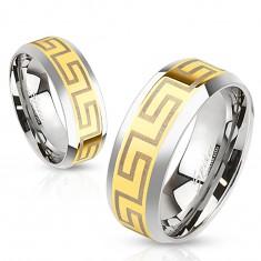 Dwukolorowa stalowa obrączka, środkowy pas złotego koloru, greckie symbole, 6 mm