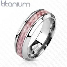 Tytanowa obraczka srebrnego koloru, środkowy pas z różowych włókien, 6 mm