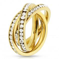 Potrójny pierścionek ze stali 316L złotego koloru, obręcze z okrągłymi bezbarwnymi cyrkoniami