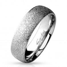 Pierścionek ze stali chirurgicznej o piaskowanej powierzchni, srebrny kolor, 6 mm