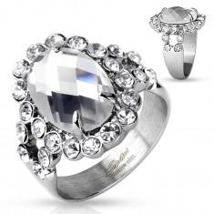 Masywny pierścionek ze stali 316L, srebrny kolor, duża bezbarwna cyrkonia w lśniącej oprawie
