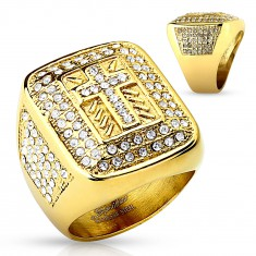 Masywny pierścionek złotego koloru, stal 316L, bezbarwne cyrkonie, łaciński krzyżyk, nacięcia