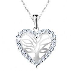 Srebrny naszyjnik 925, drzewo życia w błyszczącym serduszku, łańcuszek