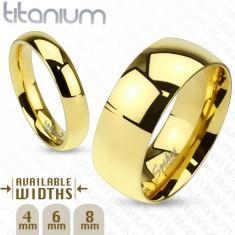 Lśniąca obrączka z tytanu złotego koloru o gładkiej wypukłej powierzchni, 6 mm
