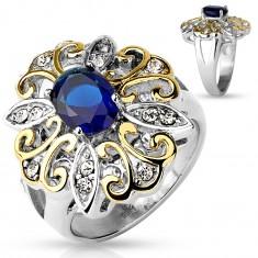 Masywny pierścionek ze stali 316L, duży dwukolorowy kwiat, ciemnoniebieska owalna cyrkonia