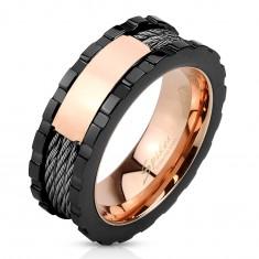 Stalowy pierścionek - trójkolorowy, lśniący prostokąt, nacięcia na krawędziach, trzy linie, 8 mm