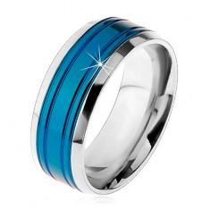 Obrączka ze stali chirurgicznej, niebieski pas, oprawa srebrnego koloru, nacięcia, 8 mm