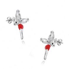 Kolczyki wkręty - srebro 925, wróżka w czerwonej spódniczce i cyrkoniami na skrzydłach