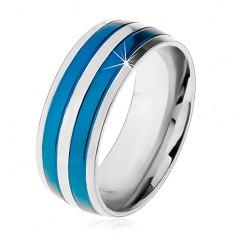Dwukolorowy stalowy pierścionek, cienkie pasy w niebieskim i srebrnym odcieniu, nacięcia, 8 mm