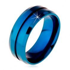 Niebieski pierścionek ze stali chirurgicznej, wąskie nacięcie pośrodku, ścięte krawędzie, 8 mm