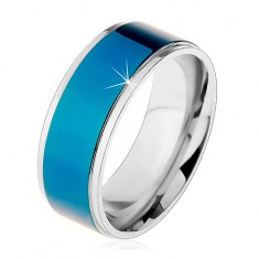 Stalowy pierścionek, ciemnoniebieski pas, oprawa srebrnego koloru, wysoki połysk, 8 mm