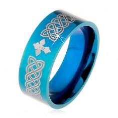 Lśniąca obrączka ze stali 316L, niebieski kolor, symbole celtyckie i krzyż, 8 mm