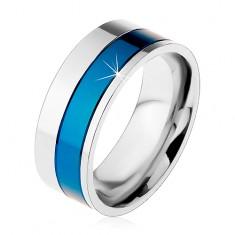 Pierścionek ze stali chirurgicznej, pasy niebieskiego i srebrnego koloru, 8 mm
