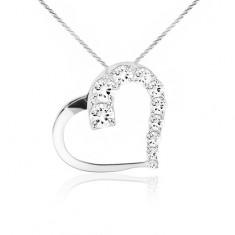 Lśniący naszyjnik, łańcuszek, kontury serca, przezroczyste kamyczki, srebro 925