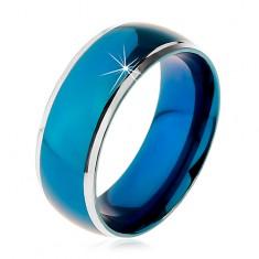Pierścionek ze stali chirurgicznej, zaokrąglony niebieski pas, oprawa srebrnego koloru, 8 mm