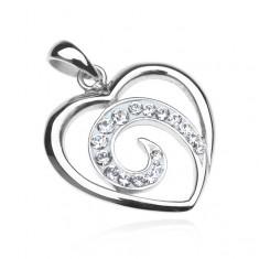 Wisiorek ze srebra 925 - kontur serca z cyrkoniową spiralą