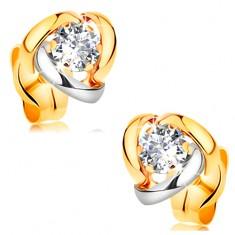 Kolczyki z żółtego 14K złota - dwukolorowe łuki otaczające bezbarwną cyrkonię