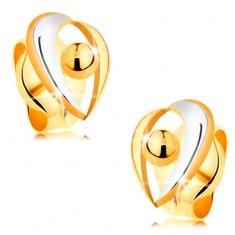 Złote kolczyki wkręty 585 - łuki z białego i żółtego złota, kuleczka