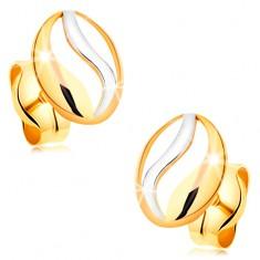 Dwukolorowe kolczyki z 14K złota - kontur owalu z falą z białego złota