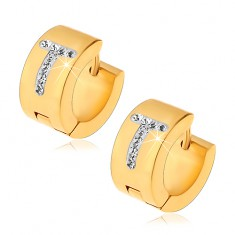 Okrągłe kolczyki ze stali chirurgicznej złotego koloru, litera T z bezbarwnymi cyrkoniami