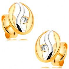 Kolczyki z dwukolorowego 14K złota - zarys owalu z falą z białego złota, cyrkonia