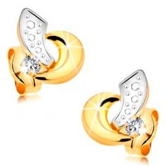 Kolczyki z 14K złota - dwukolorowe łuki i błyszcząca cyrkonia bezbarwnego koloru
