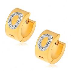 Kolczyki ze stali chirurgicznej złotego koloru, litera O wyłożona bezbarwnymi cyrkoniami
