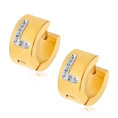 Okrągłe kolczyki ze stali chirurgicznej złotego koloru, litera L z bezbarwnymi cyrkoniami