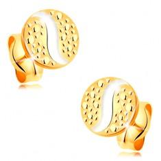 Złote kolczyki wkręty 585 - małe kółko z falą z białego złota w kropki