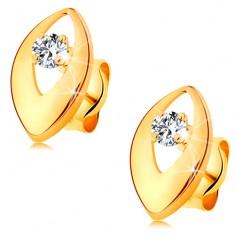 Kolczyki z żółtego 14K złota - lśniące ziarnko z wycięciem i bezbarwną okrągłą cyrkonią