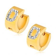 Okrągłe kolczyki ze stali 316L złotego koloru, litera D z bezbarwnymi cyrkoniami