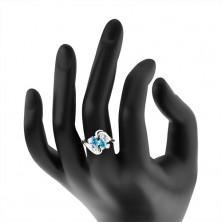 Pierścionek w srebrnym odcieniu, dwa barwne ziarnka i okrągłe cyrkonie bezbarwnego koloru