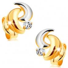 Złote 14K kolczyki z błyszczącym diamentem, dwukolorowe łuki, wkręty