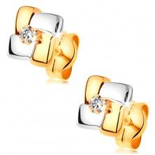 Kolczyki z 14K złota - dwukolorowe kwadraty z oszlifowanym diamentem w środku