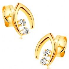 Diamentowe kolczyki z żółtego 14K złota - para brylantów w szpicatej podkowie