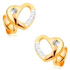 Brylantowe kolczyki z 14K złota - dwukolorowe serduszko z wycięciem i diamentem