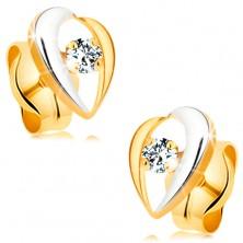 Kolczyki z 14K złota - wygięte linie otaczające bezbarwny diament, dwukolorowe