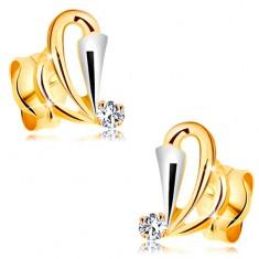 Złote kolczyki 585 z bezbarwnym diamentem - kontury łez, rozszerzony pas z białego złota
