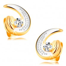 Złote kolczyki 585 - częściowy dwukolorowy kontur łzy, okrągły bezbarwny diament
