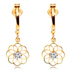 Diamentowe kolczyki z żółtego 14K złota - wiszący kwiat z błyszczącym brylantem